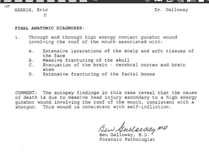 Autopsy report of murderer Eric Harris I didnt see it fitting to - Forensic Report