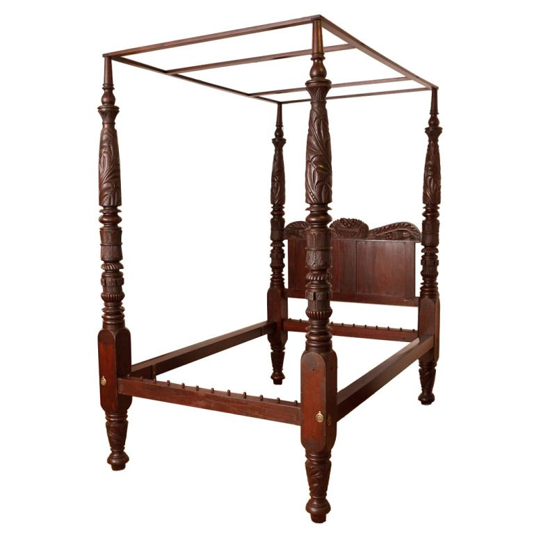 Very Fine Four-Poster American Empire Bed, Philadelphia, circa 1825 - Very Fine Four-Poster American Empire Bed, Philadelphia, Circa 1825