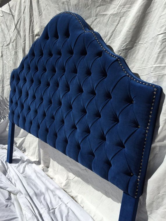 Royal Blue Extra Tall King Size Tufted Headboard By Newagainuph Blue Headboard Tufted Headboard Headboard
