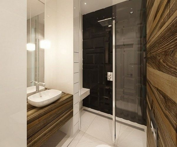 small-bathroom-design-curbless-shower-linear-drain-glass-door - wohnideen small bathroom
