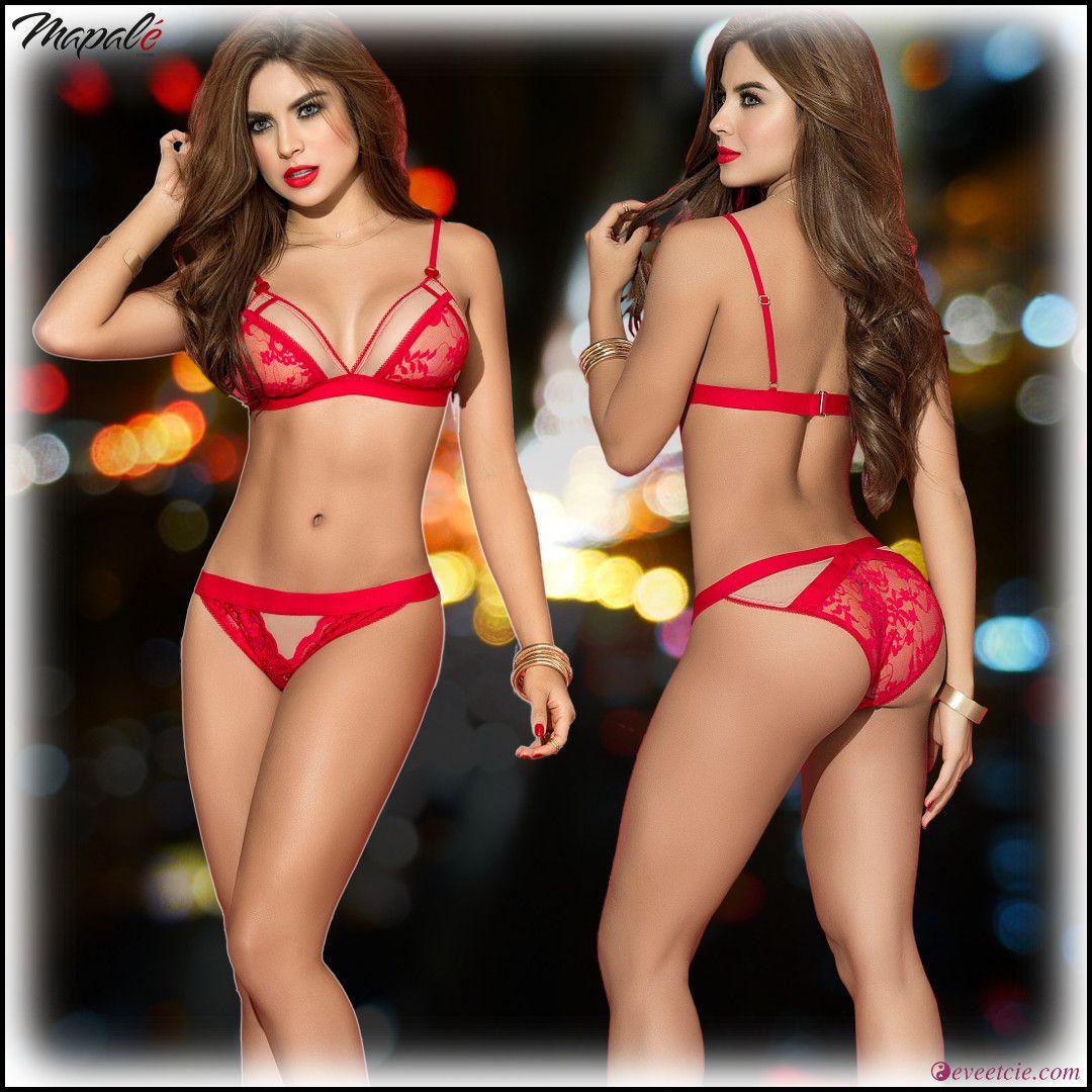 3fc10dbdcb5 Ensemble de lingerie femme 2 pièces rouge en dentelle de la collection  Mapalé . Ce bel