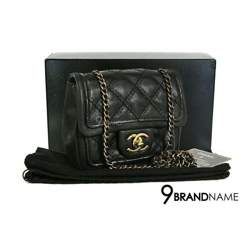 dd64f1558797 Used Chanel Mini Sqaure 7 Calf Skin Black GHW สนใจสอบถามได้นะค่ะ เบอร์ร้าน