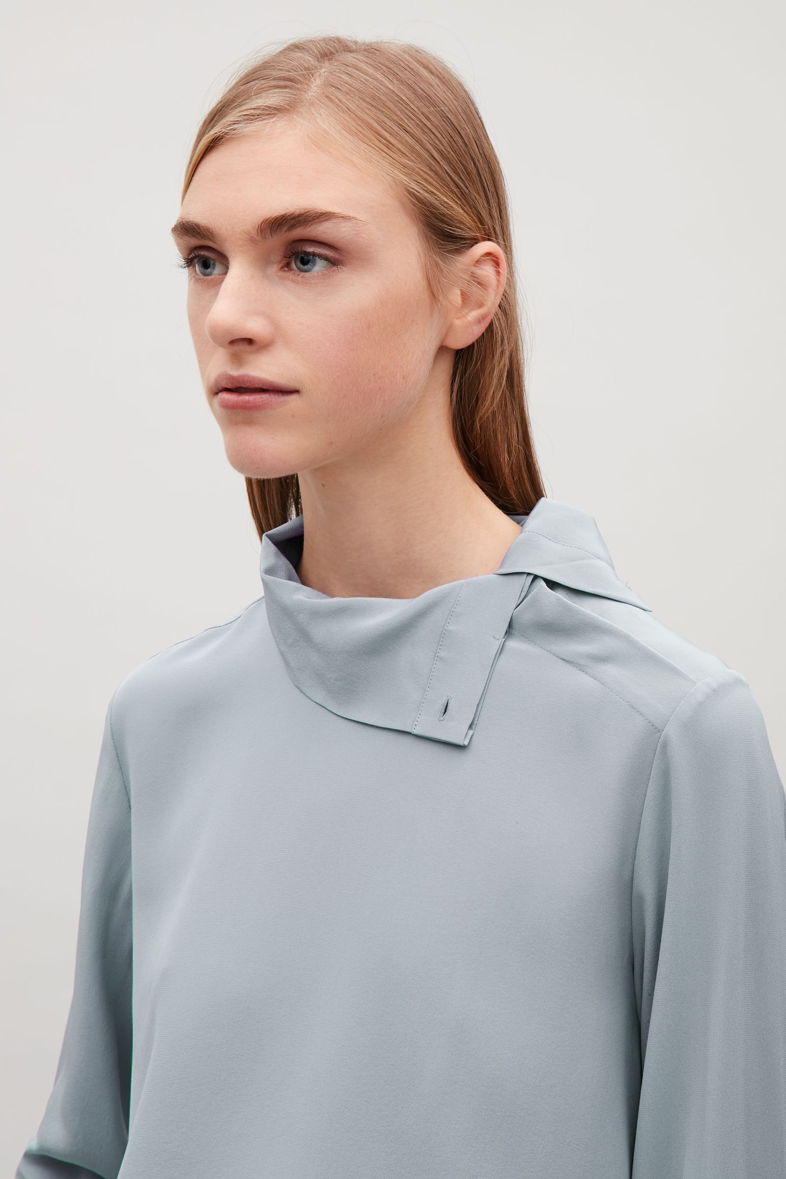 b9823ec7d2301 COS image 3 of High-neck silk blouse in Grey