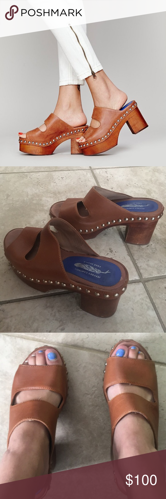 Free People X Jeffrey Campbell Westville Clog Super cute free people Jeffrey Campbell clogs! In good condition with minor scuffs. Leather clogs with studs. 4inch heel. Comfortable to walk in! No longer available in stores! Free People Shoes Mules & Clogs