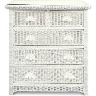 Havana Cane Glass Top 5 Drawer Tallboy White 1m Wicker Bedroom Furniture Wicker Bedroom White Wicker Furniture