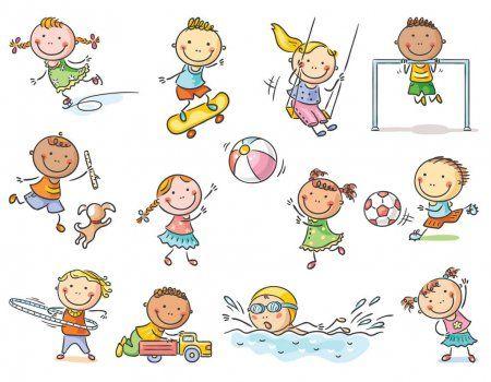 Dibujos Animados Little Kids Actividades Juegos Al Aire Libre O Ir Para Deportes Conj Dibujos Para Ninos Imagenes Animadas De Ninos Murales De Ninos Y Ninas
