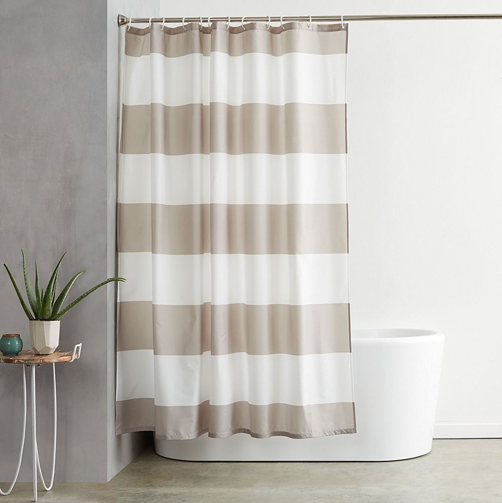 Bathroom Decor Ideas Gray Stripe Shower Curtain With Hooks Water