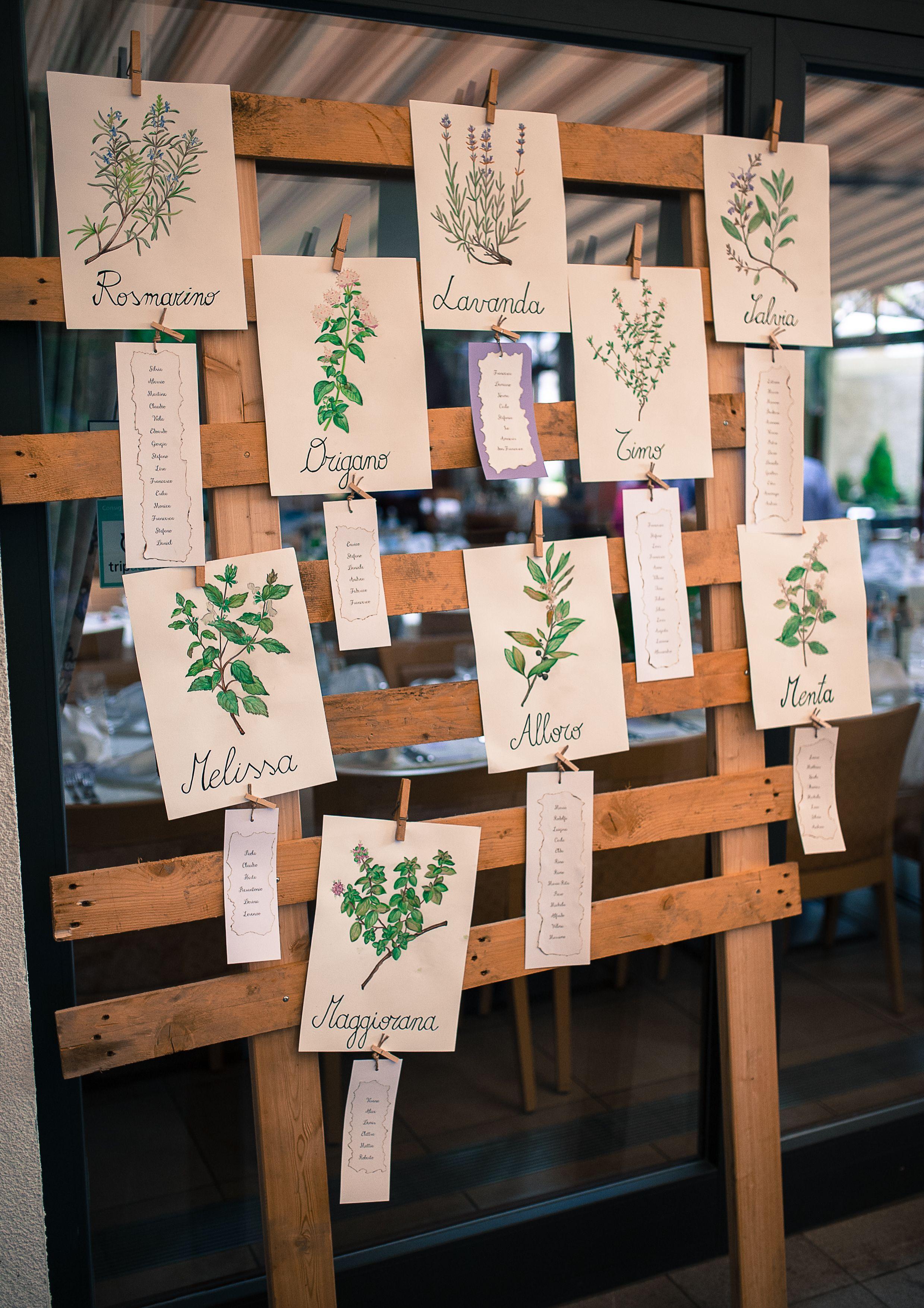 Tableau Matrimonio Country Chic : Tableau de mariage aromatic herbs erbe aromatiche