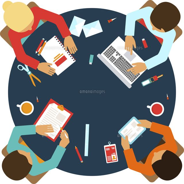 business men team office meeting concept top view people on table