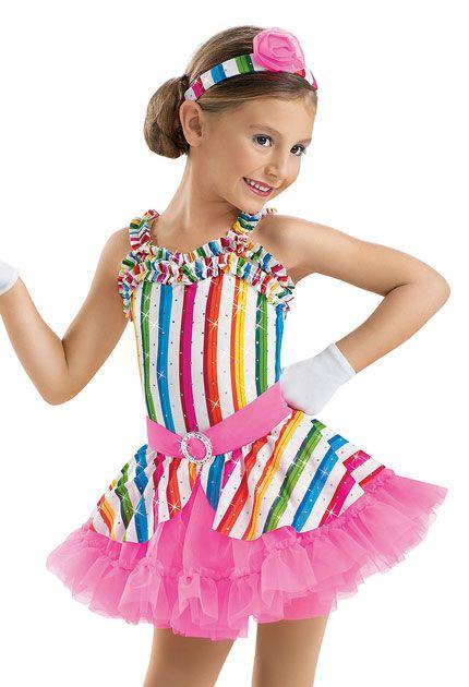 Girls' Candy Stripe Ruffle Dress; Weissman Costume(mah na mah na)