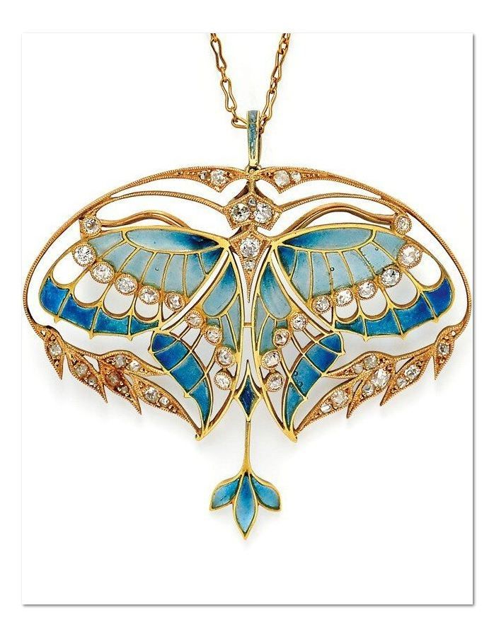 Art Nouveau 18kt Gold, Plique-à-Jour Enamel, and Diamond Pendant/Brooch, Henri Vever Paris. Designed as a butterfly with plique-à-jour enamel wings and bezel-set old mine-cut diamonds, framed by foliate motifs set with old mine- and rose-cut diamonds, diamond-set bail, with removable findings for pendant or brooch conversion.