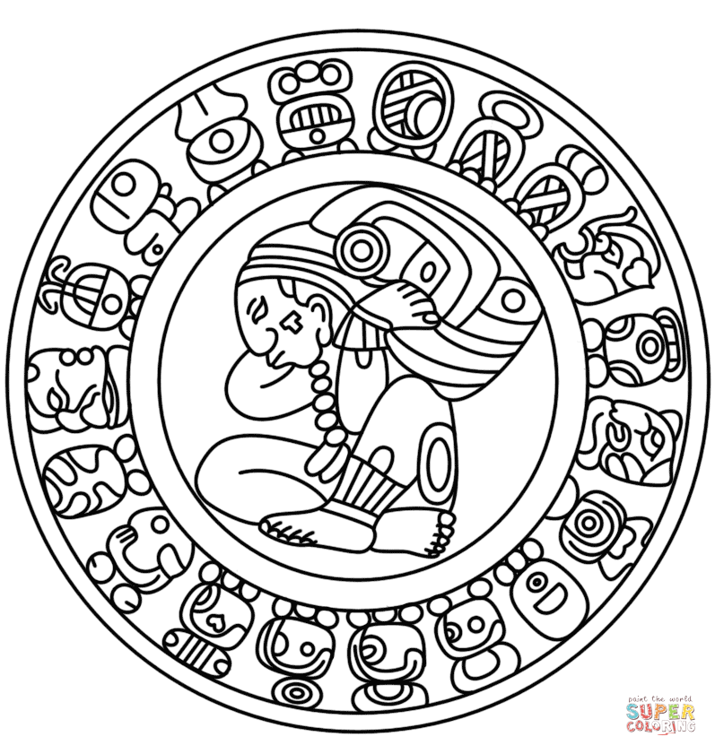 Mayan Calendar Coloring Page From Mayan Art Category Select From 28457 Printable Crafts Of Cartoons Nature Animals Bible A Mayan Art Maya Art Mayan Symbols