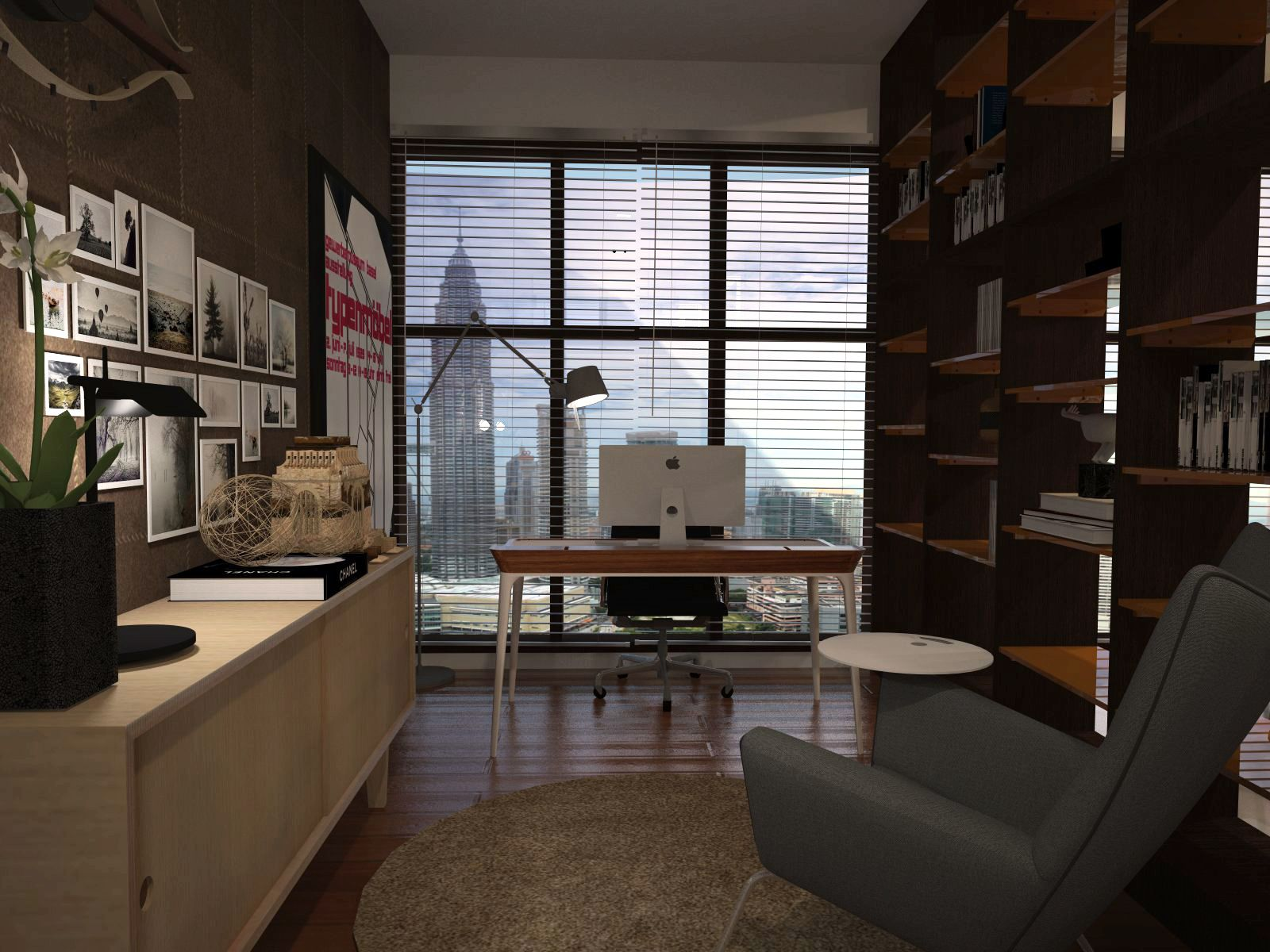 Study room at setia sky residences 3d visualization interior design ssphere - Study room interior design ...