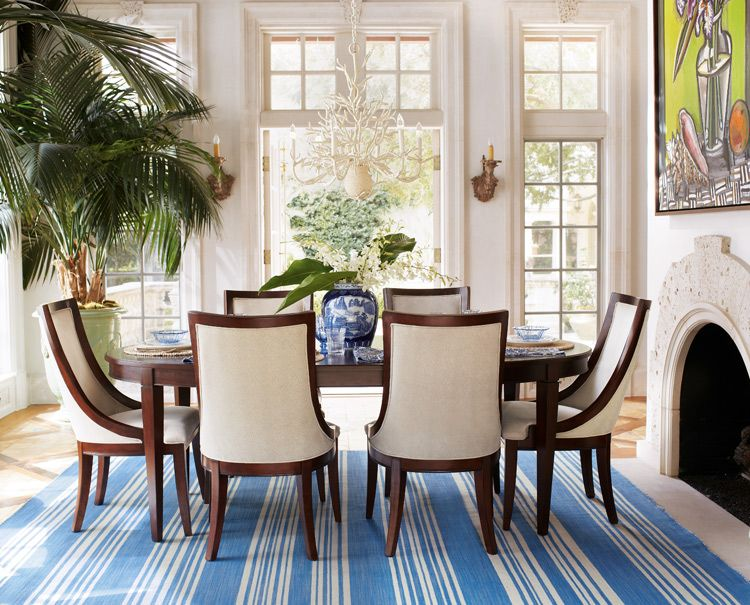 Horchow Dining Chairs: Allterton Dining Room With Blue And White Striped Rug