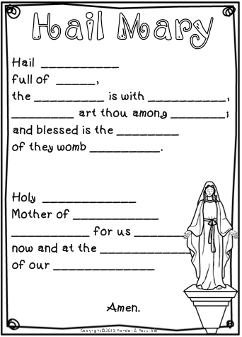 Hail Mary Prayer Posters Worksheets Interactive Activities