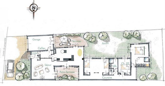 Plan De Maison Sur Terrain En Longueur (
