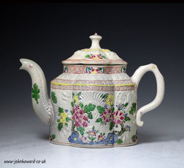 Saltglaze stoneware relief moulded pectin shaped teapot with enamel decoration Staffordshire 18th century (Staffordshire England)