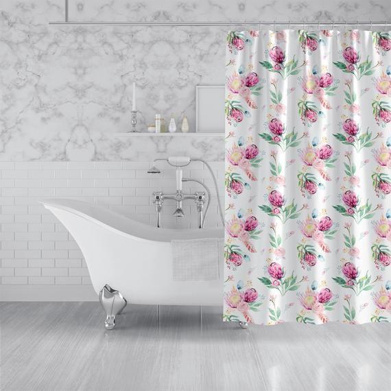 Watercolor Pink Floral Custom Shower Curtain Rose Leaf Pattern Fabric Bath Curtain Machine Washable 70x70 83x70 90x70 Custom Shower Curtains Custom Shower Fabric Shower Curtains