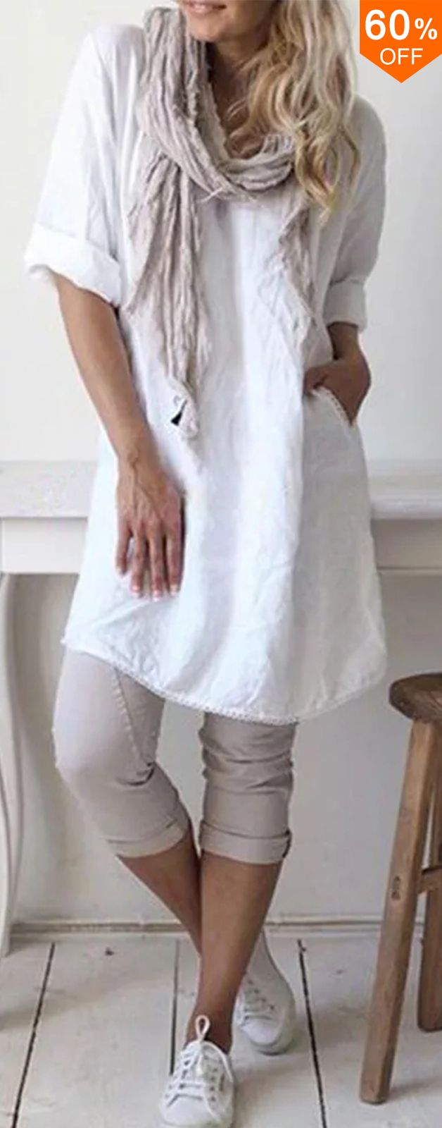 Photo of Causal Short Sleeve Round Neck Solid Dress