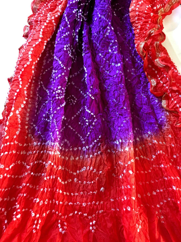6bb7247950 Rajasthani Silk Dupatta; Bandhani Dupatta, Indian Scarf, Tie-Dyed, Bright  Colours Dupatta by PureIndianArt on Etsy