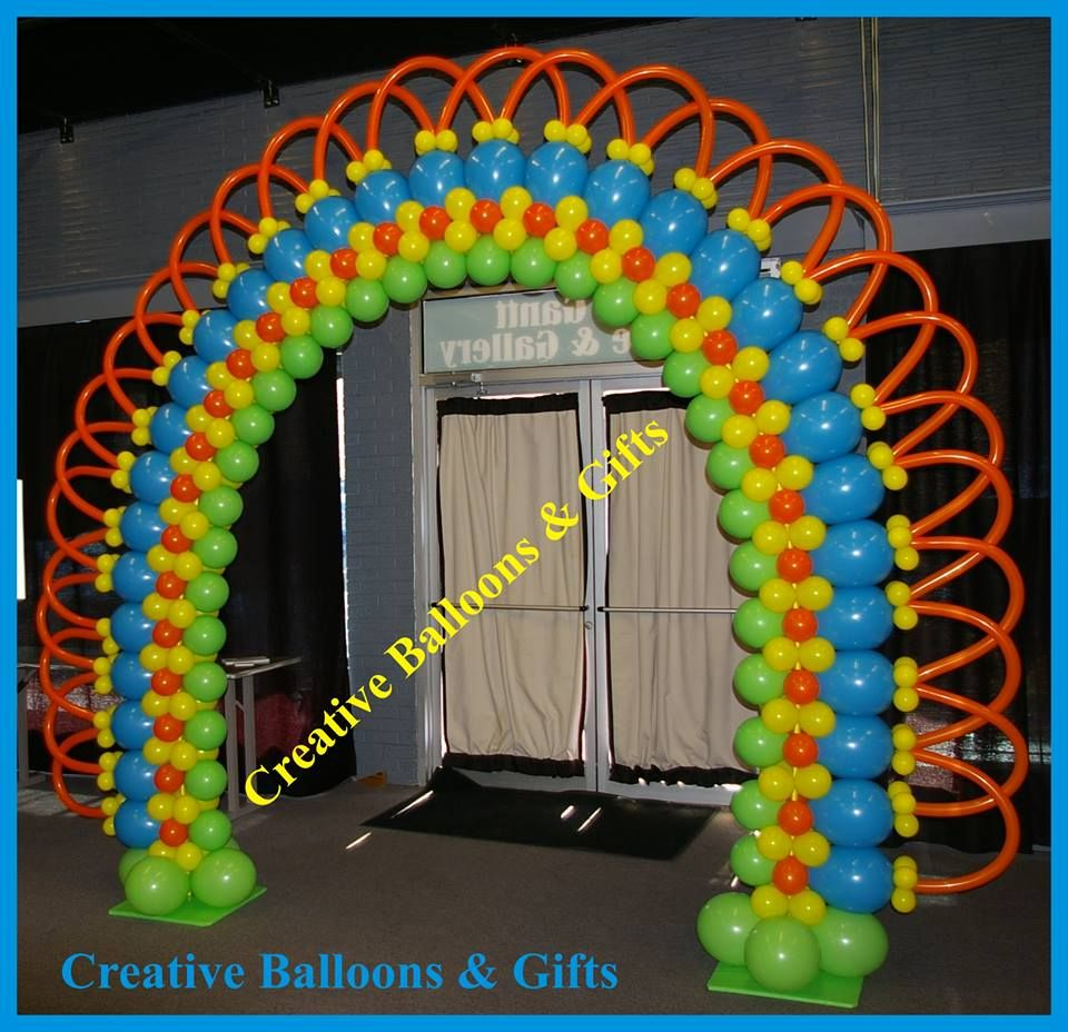 Rainbow balloon arch bodacious balloons pinterest for Balloon arch decoration ideas