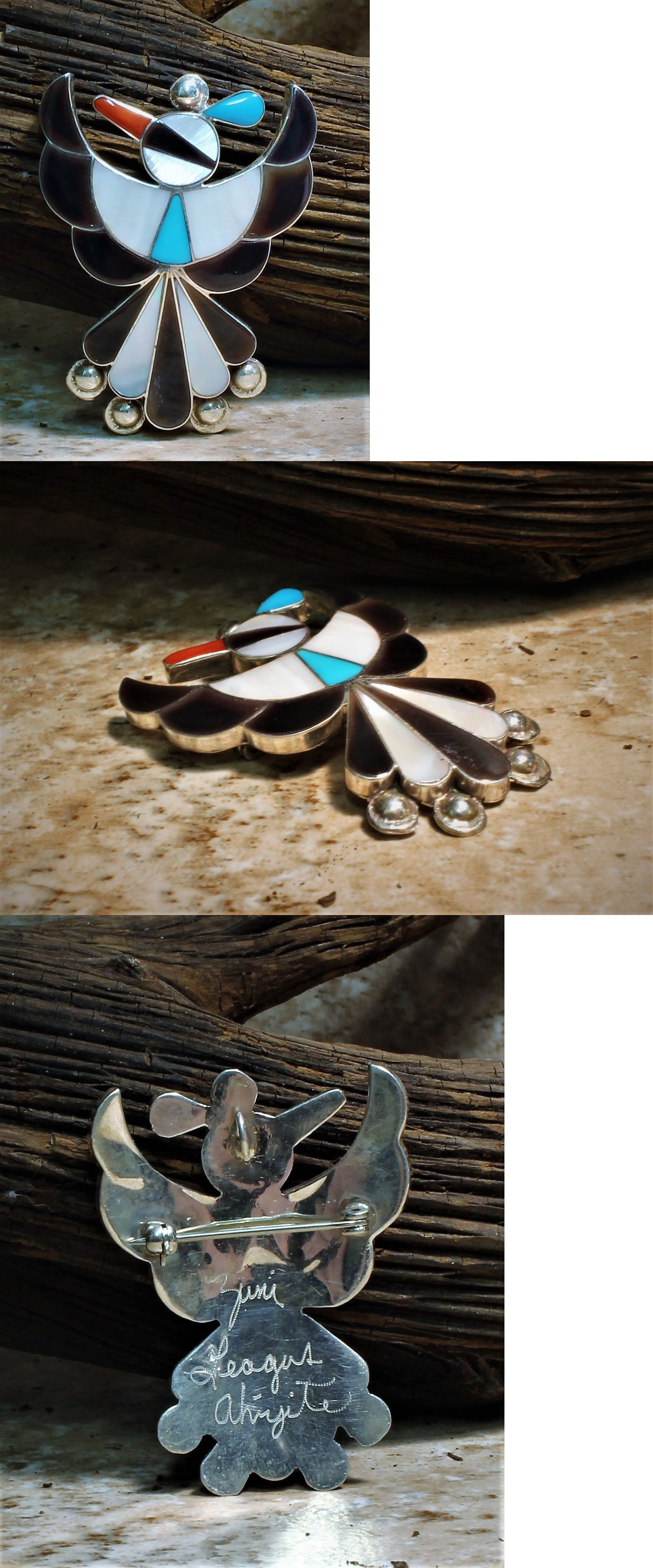 pendant turquoise pin genuine zuni and necklaces stamped handcrafted opal bear sterling pendants