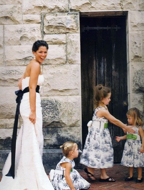 Love The Navy Blue Sash Bow On Her Wedding Dress Those Toile Dresses Are Cute Too