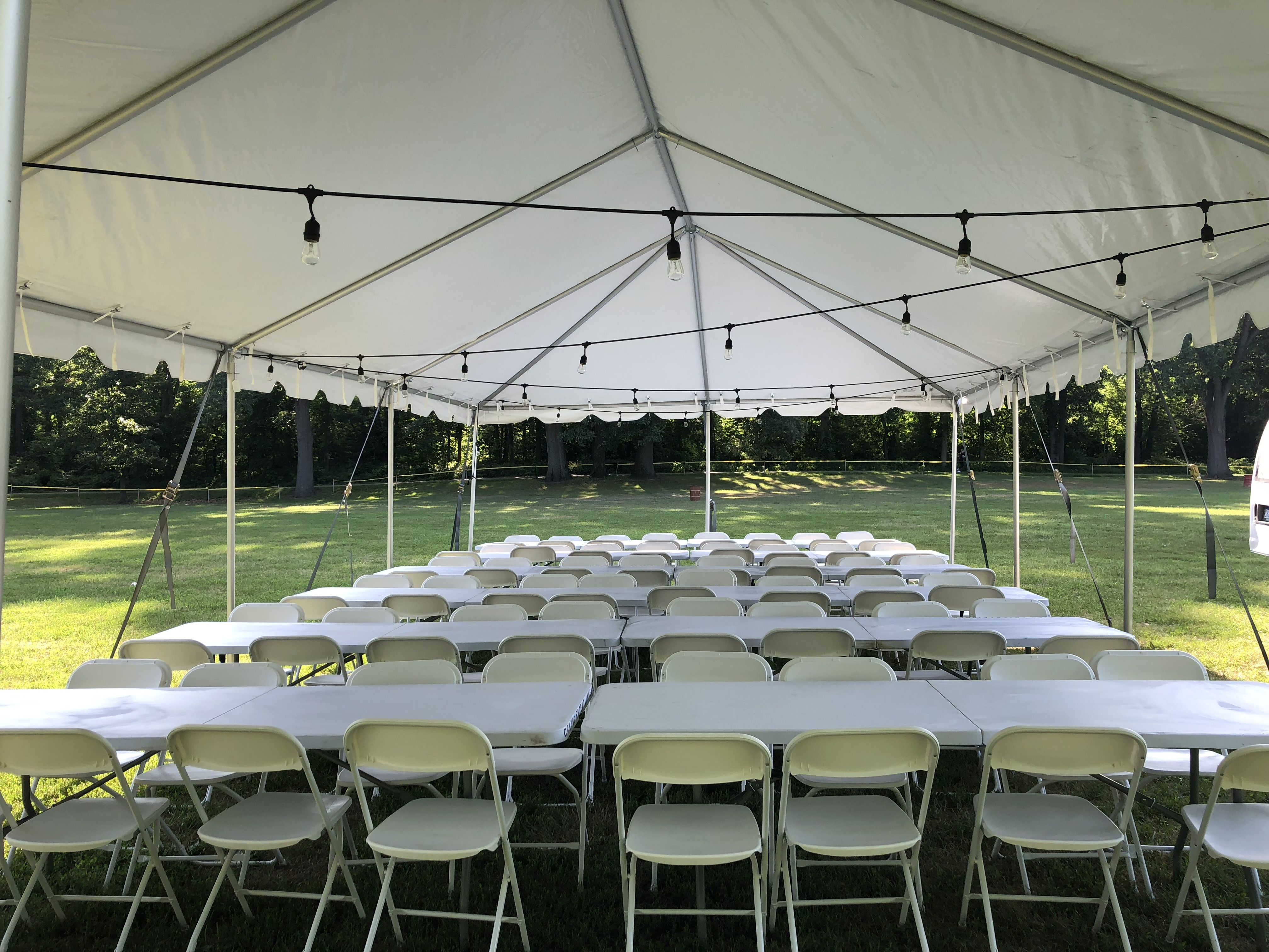 Outdoor wedding rentals. Tents, tables and chairs.