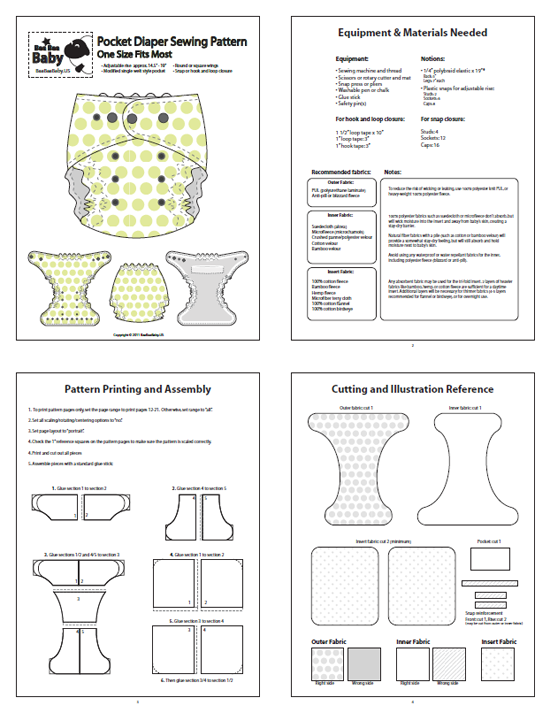 TrimFit One Size (OS) Pocket Diaper Pattern $15. She gives ...