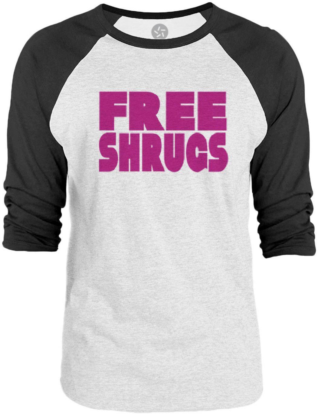 Big Texas Free Shrugs (Fuchsia) 3/4-Sleeve Raglan Baseball T-Shirt