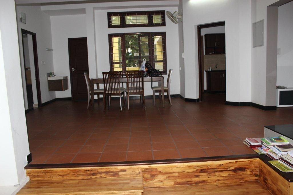 House At Kerala Interior Floor Tiles Brick Cladding Kitchen