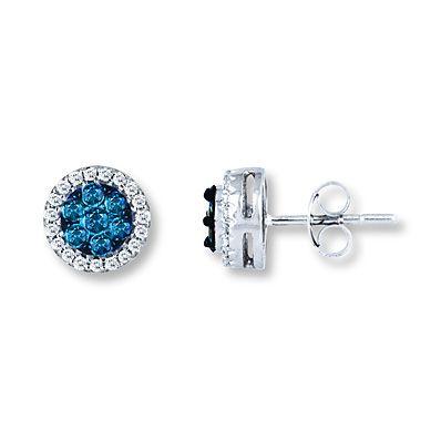 Blue Diamond Earrings 1 2 Ct Tw Round Cut 10k White Gold