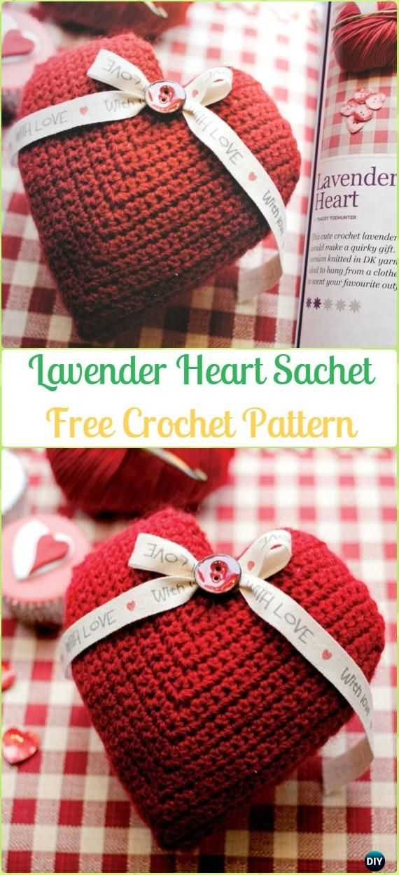 Crochet Lavender Heart Sachet Free Patterns - Amigurumi Crochet 3D ...