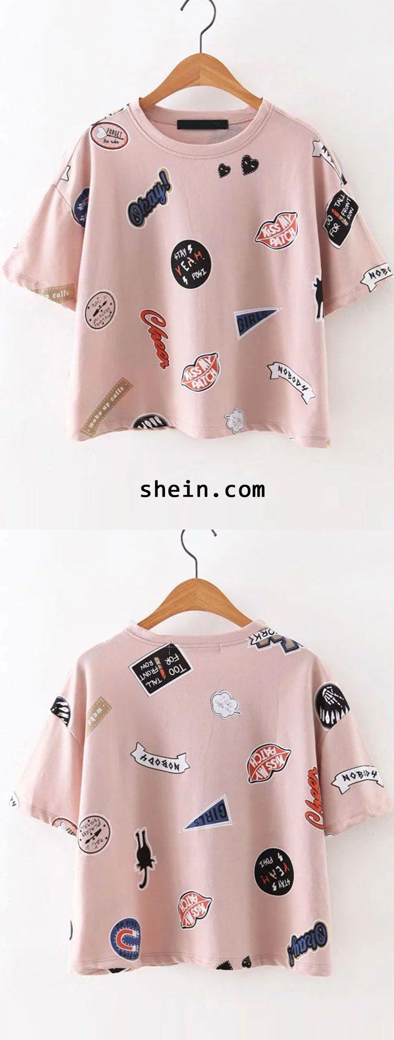 Pink Round Neck Printed Short Sleeve T-Shirt