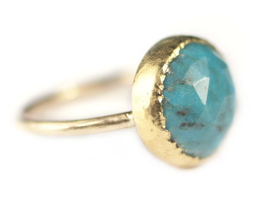 Turquoise Ring Set in Textured 22k Yellow Gold.