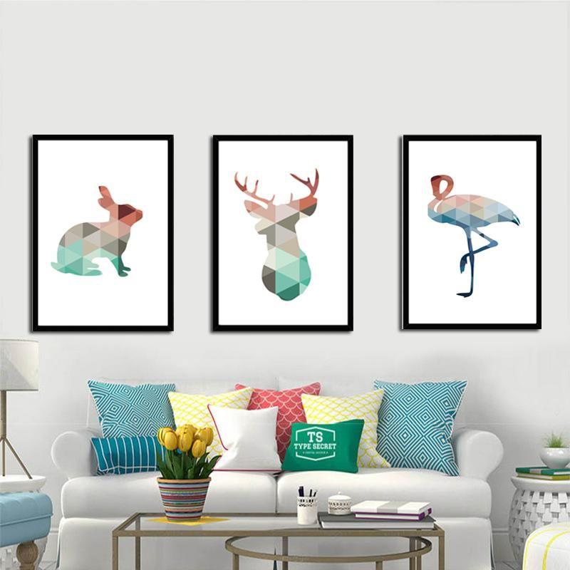 geometric deer swan rabbit canvas painting colorful animals a4 no rh pinterest com