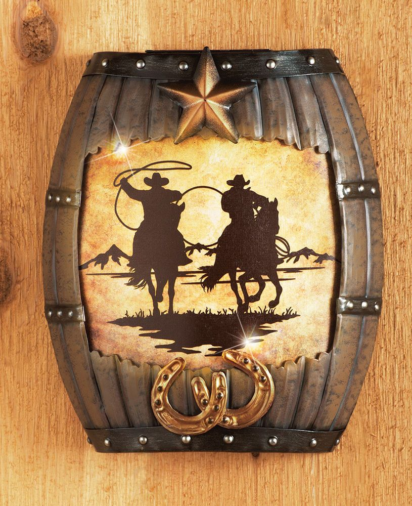 LED Lighted Western Decorative Cowboy Wall Art Horses Star Cowboys ...