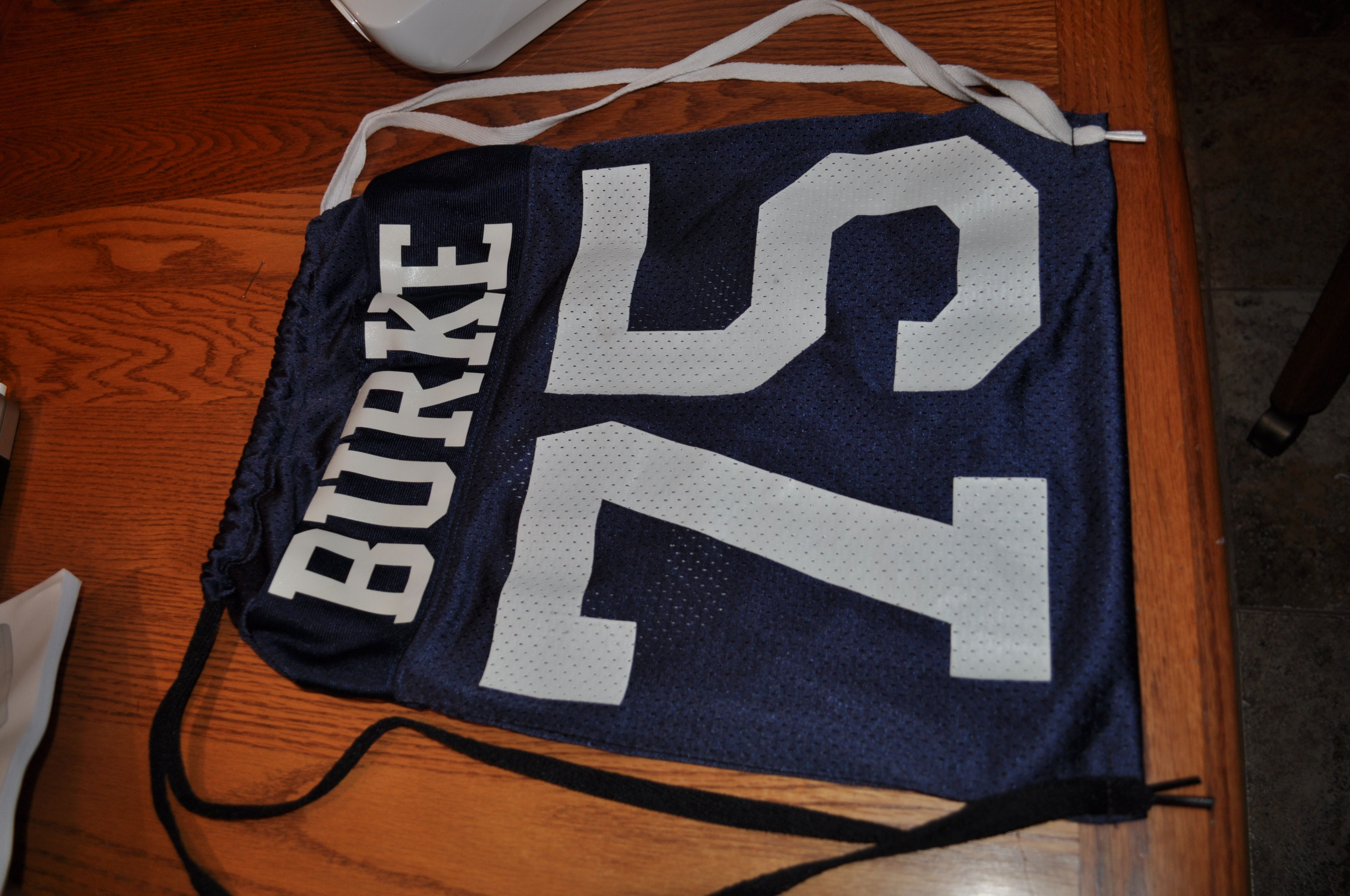 1 Brother s Gift  I made a drawstring bag out of his old football jersey. 7b1b6b0b1