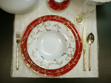 Tableware & Porcel Gold Ruby Dinnerware | Gracious Style | china silver linen ...
