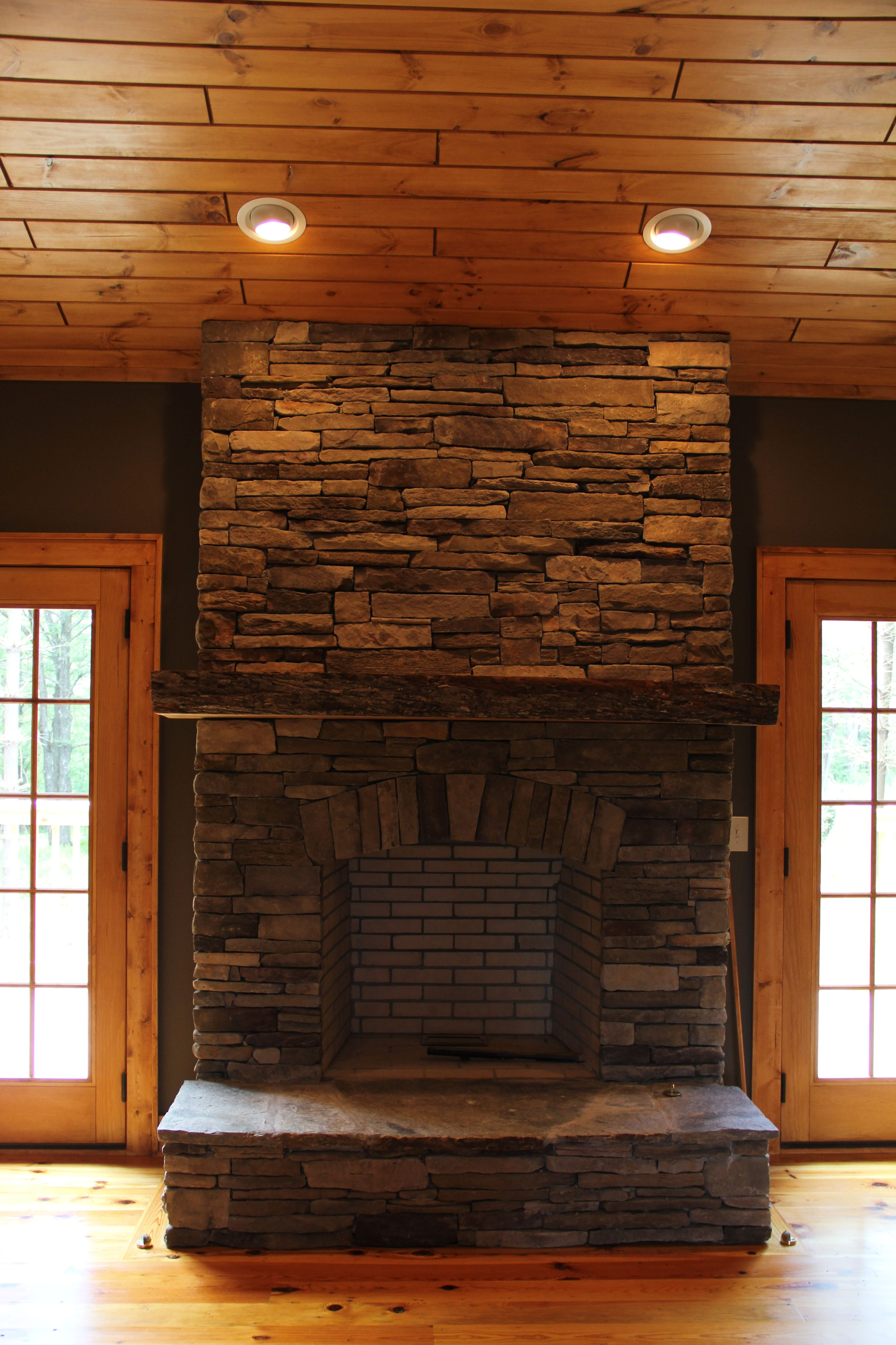Stacked Stone Fireplace With Rustic Maple Mantle Vpc