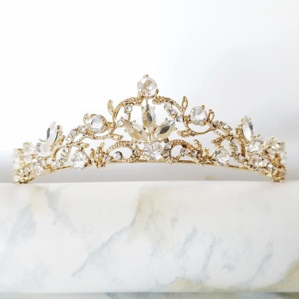 The Audrey Delicate Light Gold Crystal Tiara Wedding Crownswedding