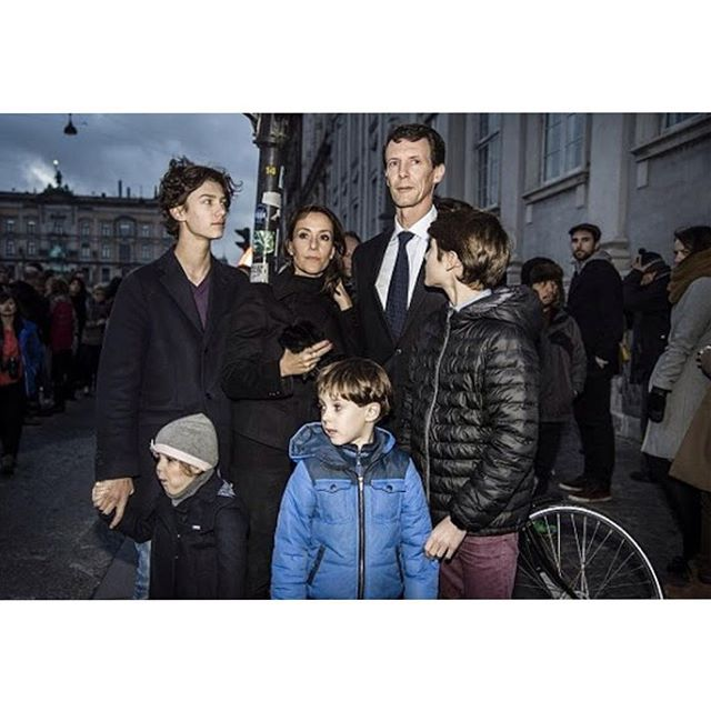 Prince Joachim and Princess Marie pay tribute to the victims in front of the French Embassy in Copenhagen, Denmark on 14 November 2015.