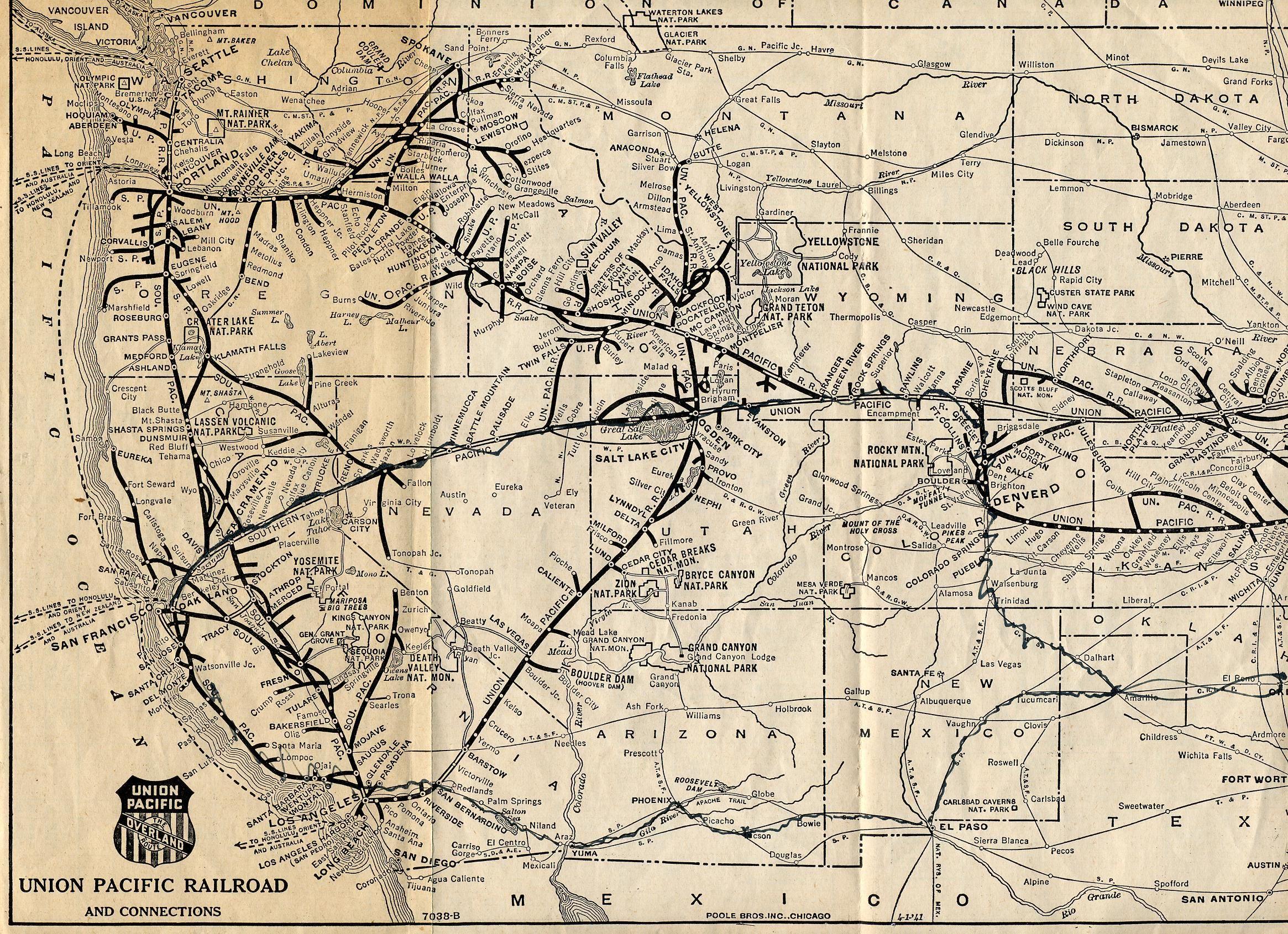 Union Pacific Railroad History Map pacific union trains | 1925 Union Pacific Railroad Map Part 1 See