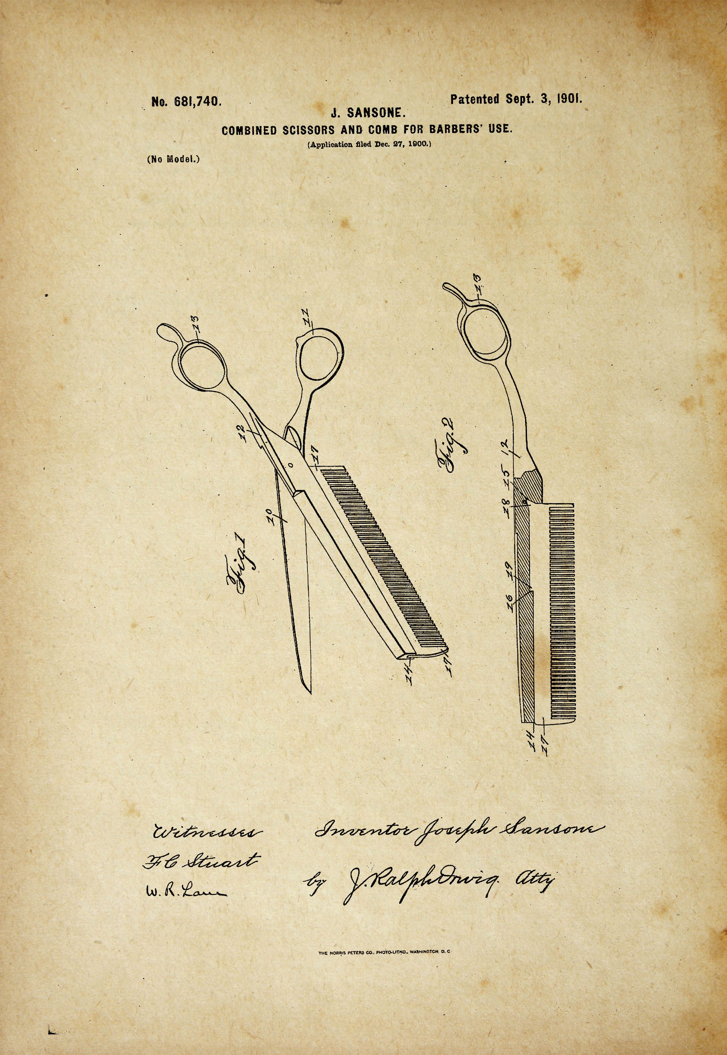 Combined Scissors Comb Barbers Patent Poster | Barber Patent Poster ...