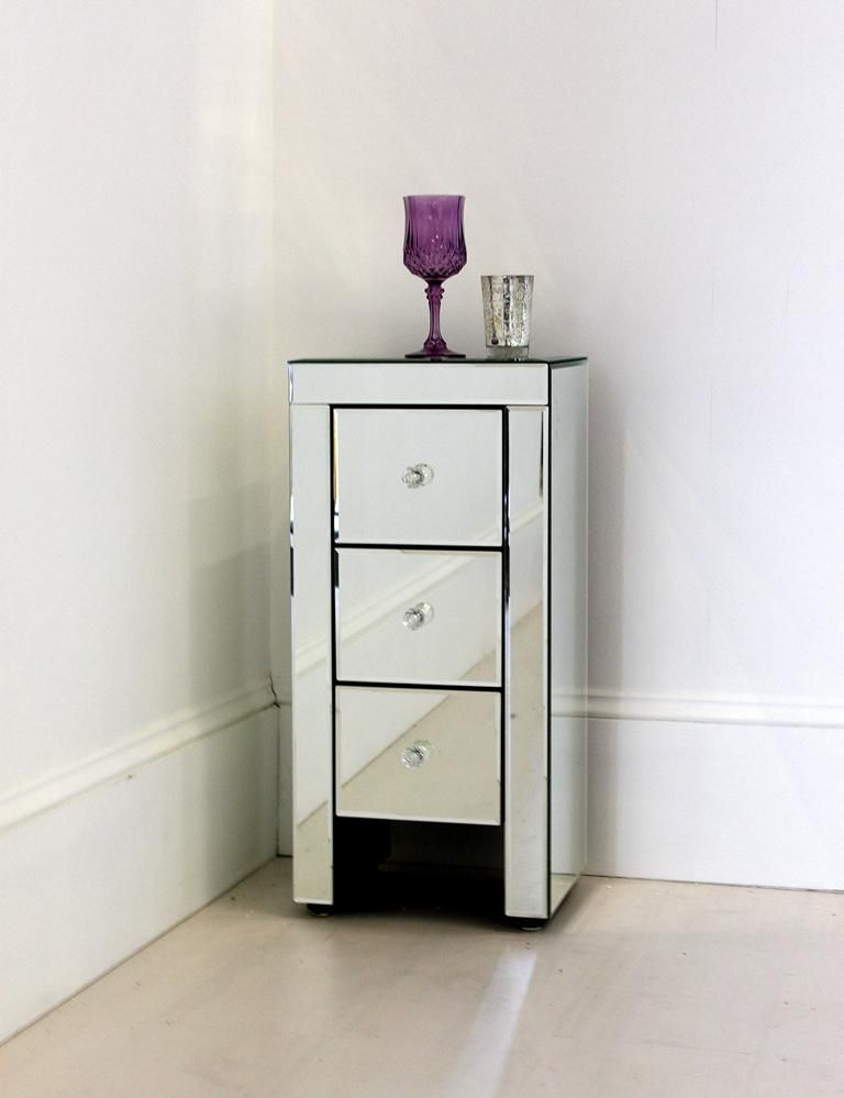 Amazing Cute Small Bedside Tables Ideas : Narrow Mirrored Bedside Table With Drawers