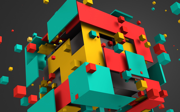 Download Wallpapers Cube Art Geometry Geometric Shapes 3d Art Besthqwallpapers Com Realidade Virtual Arte 3d Geometria
