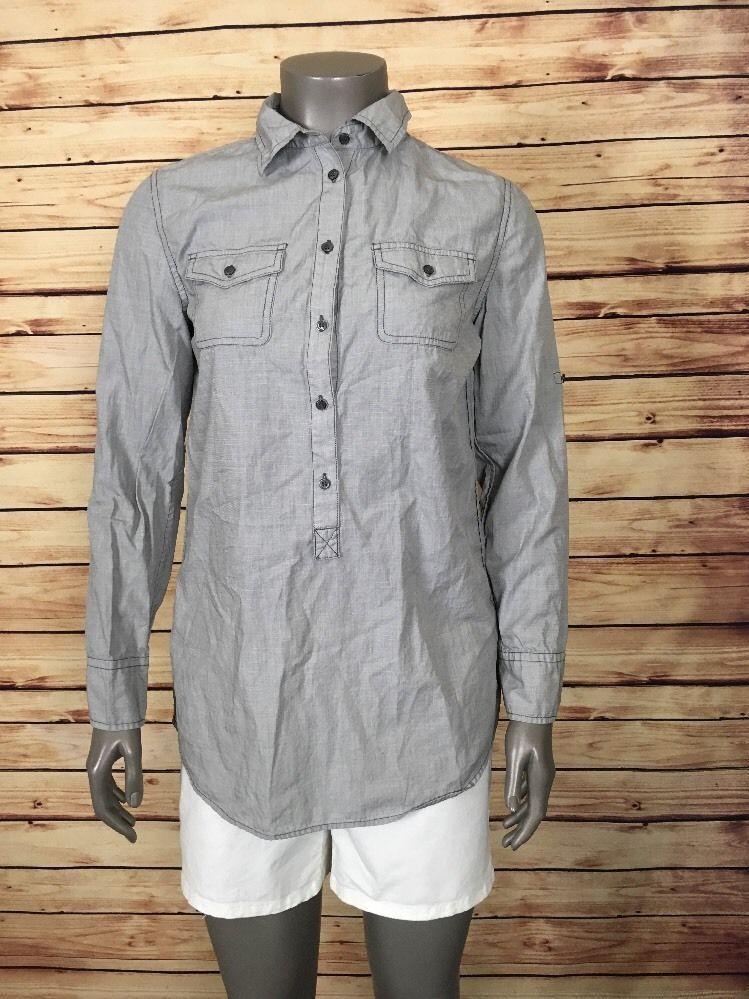 J. Crew button front shirt tunic womens size S gray button cuffs casual work   JCrew  ButtonDownShirt  Career f12ceeaf77
