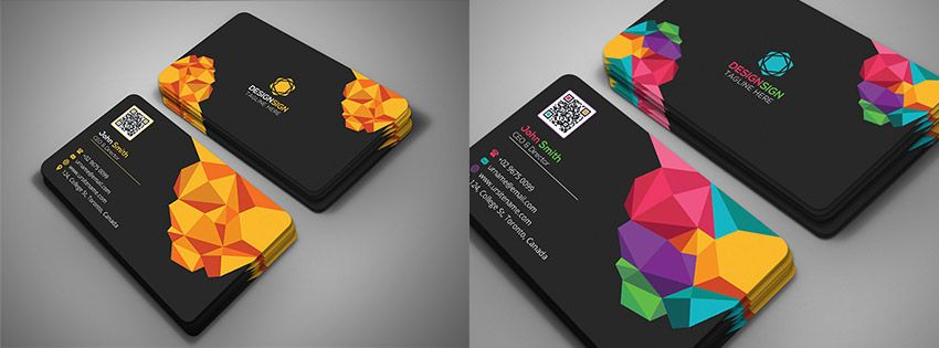 poly shape business card template creative design man