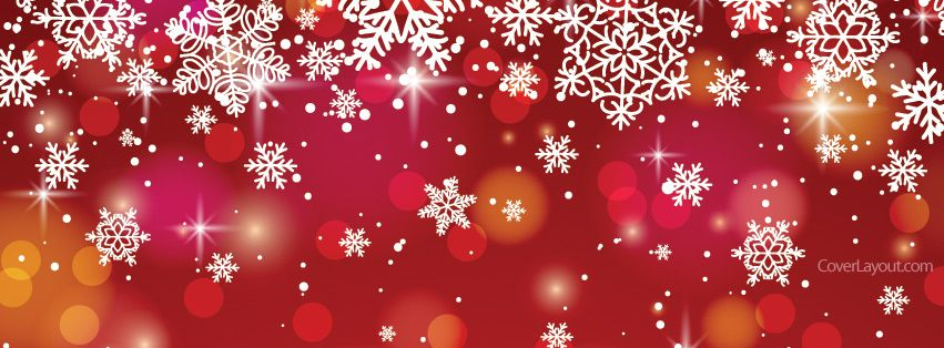 Red And White Snow Flakes Facebook Cover Coverlayoutcom