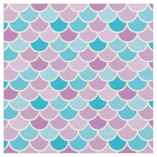 Aqua And Purple Mermaid Scales Pattern Fabric In 2019